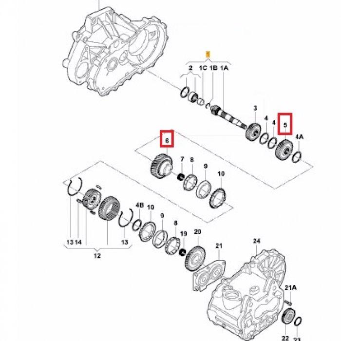 Pinion treapta 3, pinion cuplare treapta 2 pt cutie de viteze manuala Skoda Octavia 1.6 2010 5 trepte benzina