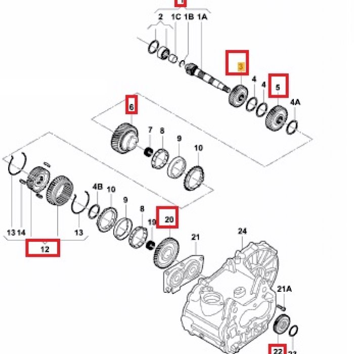 Arbore antrenat, pinion treapta 3,4,5,R marsarier - cutie viteze VW Caddy 2.0 SDI 2006 5 trepte