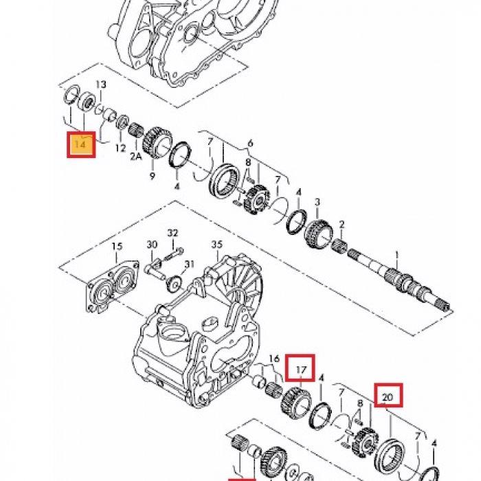 Pinion cuplare viteza 5, bucsa de rola, rulment cu ace, corp sincronizat cu mufa de impingere