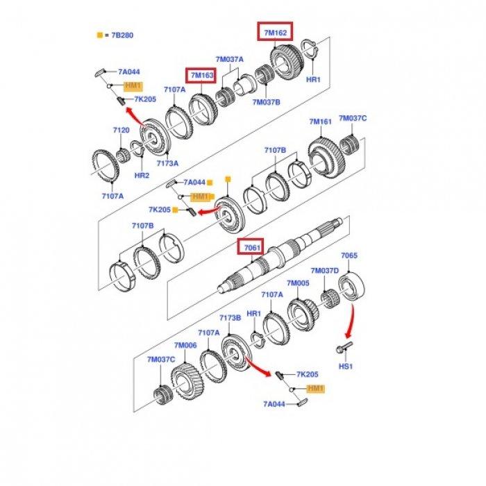 Pinion viteza2, con si pinion viteza 3, arbore principal, pt cutie de viteze manuala Ford transit MT75 2006-2014, 5 trepte