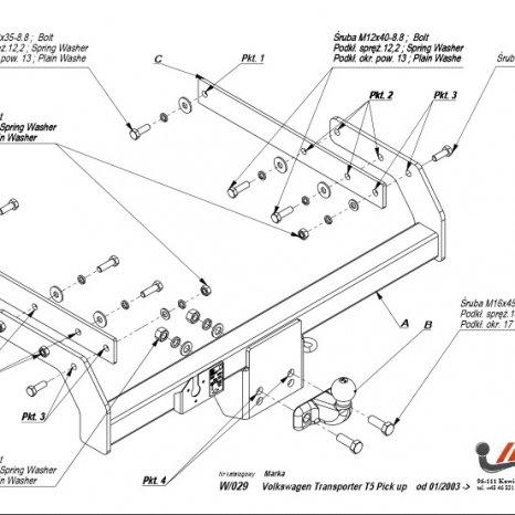 Carlig Remorcare Volkswagen T5 pick-up 2003