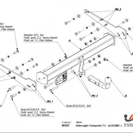Carlig Remorcare Volkswagen T5 Transporter Caravelle Multivan 03