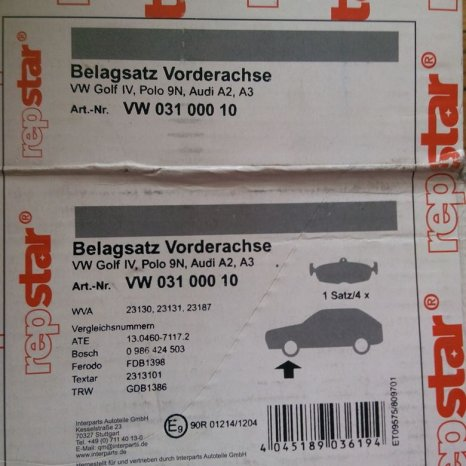 Placute frana fata - RepStar VW Golf 4 , Polo , Audi A2 , A3