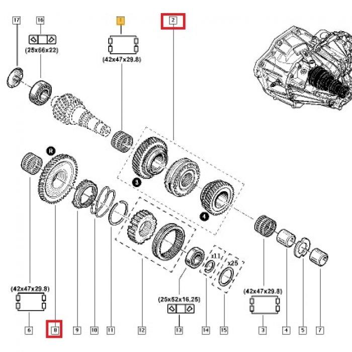 Pinion viteza 3,4,R ,marsarier - cutie de viteze manuala Renault Master 2.3 DCI  PF 6 trepte