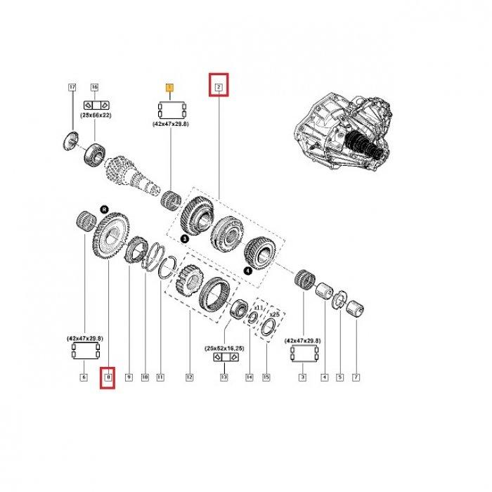 Pinion treapta 3, 4, R - cutie de viteze manuala Renault Master 2.5 DCI PF6 6 trepte