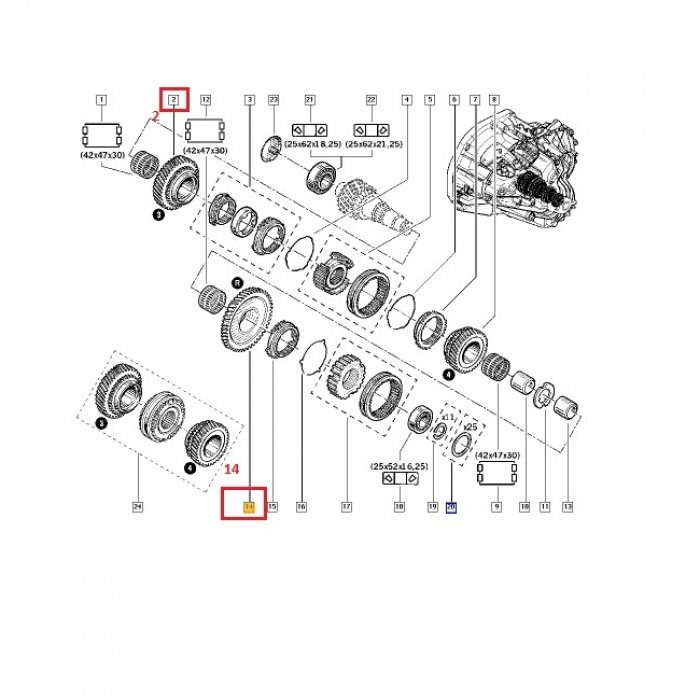 Pinion viteza 3,R - cutie de viteze manuala Renault Master 2.5 DCI 6 trepte PK6