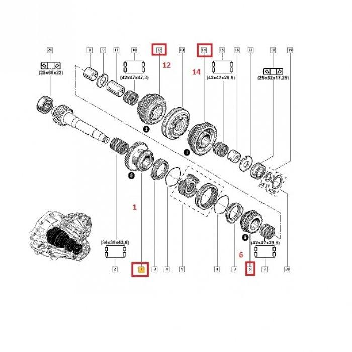 Pinion treapta 1, 2, 5, 6 -cutie de viteze manuala Renault Master 2.5 DCI 6 trepte PF6