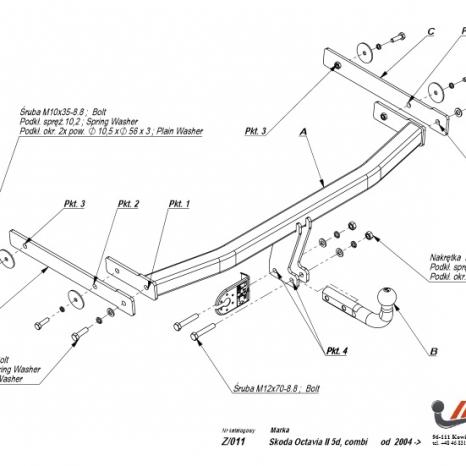 Carlig Remorcare Skoda Octavia 2 Hatchback si combi 2004-2012
