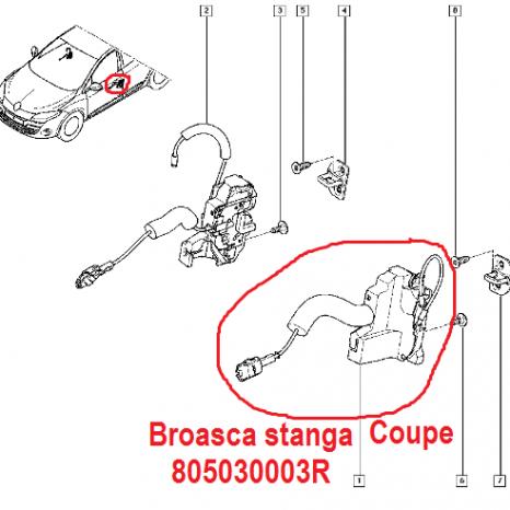Broasca usa stanga Renault Megane 3 Coupe  : 805030003R