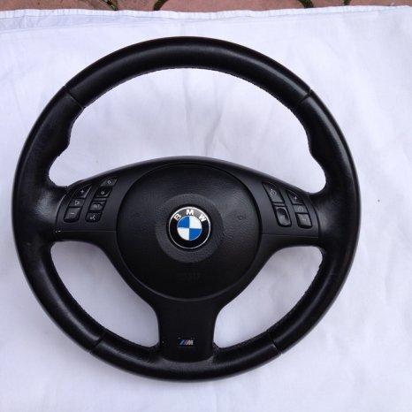 Volan complet BMW E46 M3, comenzi volan, trim M, stare foarte buna