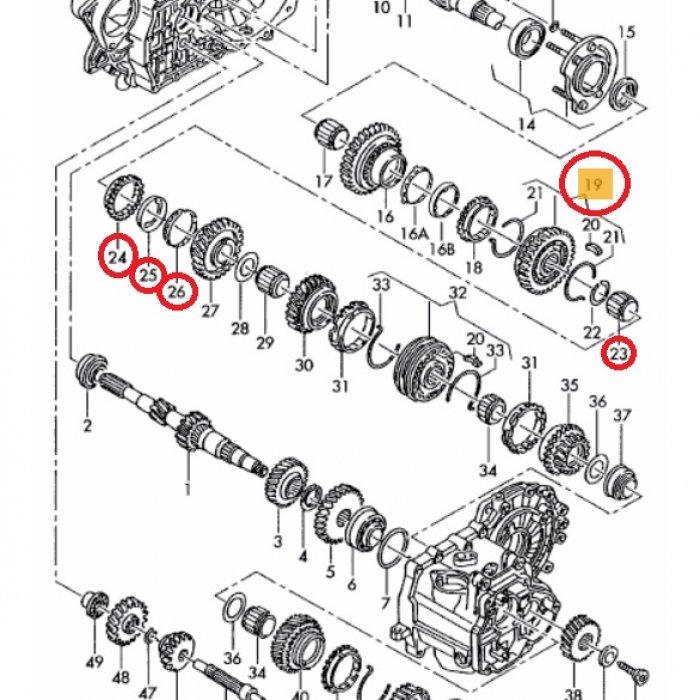 Corp sincronizat cu mufa de impingere rulment cu ace inel sincron treapta a 2a exterior interior T4 2003