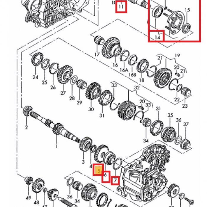 Pinion treapta de viteza a 4a T4 2003 rulment cu role saibe regulatoare montura rulment cu role conice