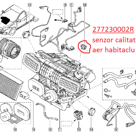 Senzor calitate aer habitaclu Renault Megane 3 , Scenic 3, Laguna